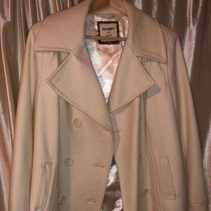 Cream pea coat size L